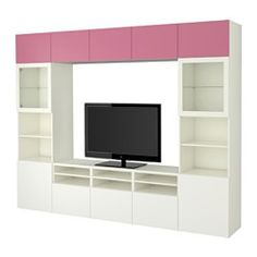 BESTÅ TV storage combination/glass doors, Lappviken pink, Sindvik white clear glass - 300x40x230 cm - IKEA