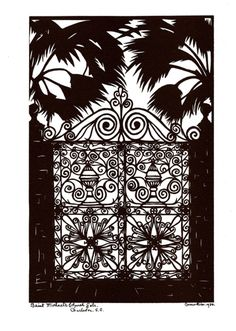 Charleston artist, Carew Rice I really like this wrought iron gate. Wrought Iron Decor, Wrought Iron Gates, Silhouette Artist, Palmetto State, Sweet Caroline, Iron Work, Garden Gates, Logo Ideas, Charleston Sc