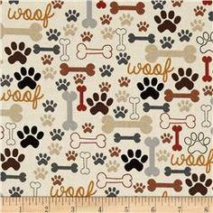Timeless Treasures Dog Bones & Paw Prints Cream