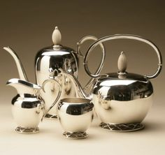 Gallery 925 - Allan Adler Modernist Sterling Silver Coffee and Tea Service with Wooden Finial
