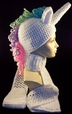 a17b87f80df Crochet Unicorn Beanie with Scarf Princess by TonisCrochetCraze