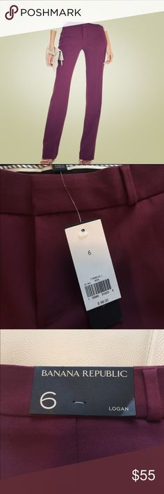 NWT Banana Republic Logan Trouser - burgundy 6 R Modern dress pant, 6 regular Banana Republic Pants Straight Leg