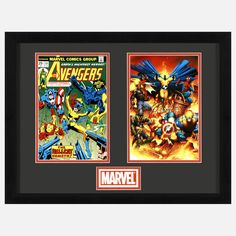 Earth's Mightiest Heroes…Assemble! This limited-edition lithocel diptych from Marvel Comics features recreations of a classic and contemporary cover from the Avengers franchise.