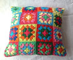 Crocheted Cushion Cover Granny Square by AddiesKnittedGifts, £35.00