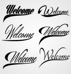 Welcome hand lettering vector 2154923 - by iwant61 on VectorStock®