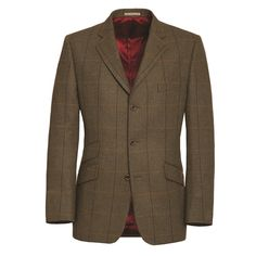 Magee Blue and Yellow Country Check Tweed Blazer - A timeless country check blazer. The fabric is a heavyweight moss green tweed with a subtle blue and yellow check. The styling is classic with slant pockets and an outer breast welt.    Fabric - 100% wool