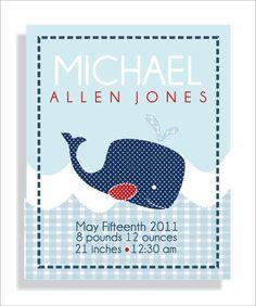 Jackson Whale Birth Announcement Baby boy by FieldandFlower