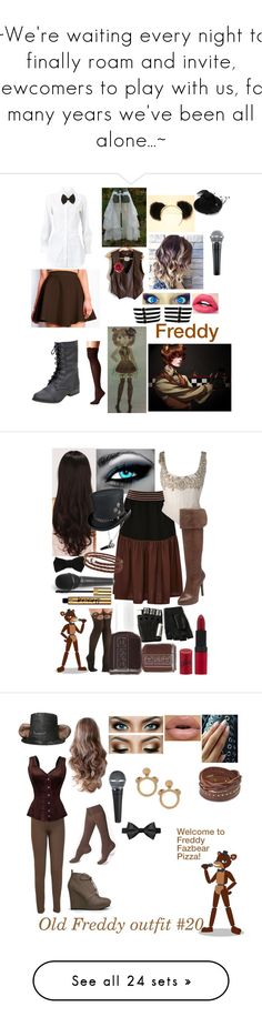 """""""~We're waiting every night to finally roam and invite, newcomers to play with us, for many years we've been all alone...~"""" by nerdbucket ❤ liked on Polyvore featuring fnaf, Alaïa, M&F Western, Freddy, LeSalon, Alexander McQueen, Clover Canyon, Gemma J, Rimmel and Majesty Black"""