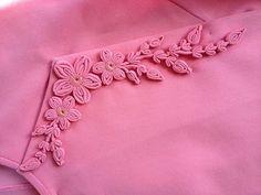 Myanmar dress Fabric Manipulation Fashion, Myanmar Dress Design, Myanmar Traditional Dress, Fabric Embellishment, Neckline Designs, Gift Bows, Passementerie, Ribbon Work, Flower Applique