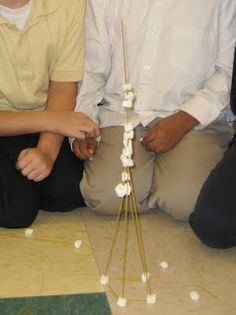 Love this!!! Beginning of the year- COOPERATION! Teams race to build the highest tower using spaghetti and marshmallows. When the time is up  (10 mins) discuss what made teams successful.