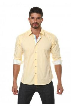 Jared Lang Yellow Shirt | - Semi-fitted - 100 % cotton - Long sleeve - Contrast stitching - Trimming in collar and cuffs - Made in Turkey | Indigo 1745 - Dallas, TX