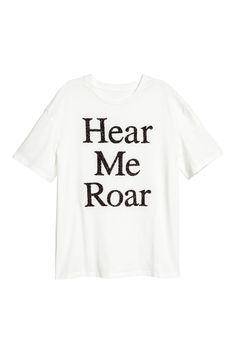 Gyöngyhímzéses felső - Fehér/Hear me roar - NŐI   H&M HU