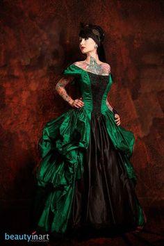 Green Corset Dress Victorian