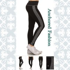 ⏰ONE HOUR SALE⏰Black and Grey Striped Legging Available in sizes S/M and LG/XL Pants Leggings