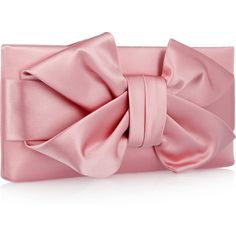 Valentino Bow Silk-Satin Clutch ($795) ❤ liked on Polyvore