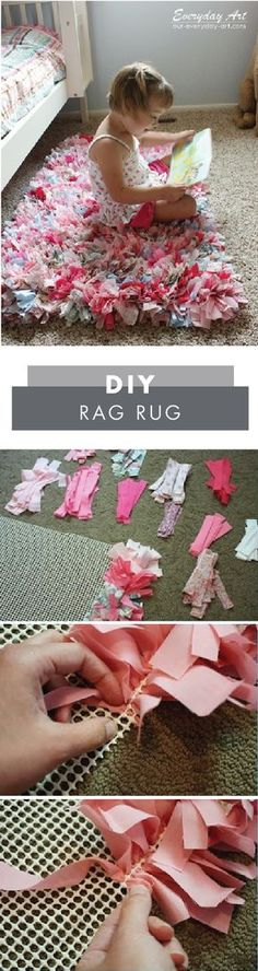 DIY and Crafts: Adding cozy comfort to your little girl's bedroom has never been easier—thanks to this DIY Rag Rug! Grab a no-skid rug mat, a latch hook tool, and your choice of patterned fabric from Jo-Ann to get started on this no-sew craft project. Diy And Crafts, Craft Projects, Sewing Projects, Crafts For Kids, Arts And Crafts, Diy Projects To Sell, No Sew Crafts, Craft Ideas, Decor Ideas