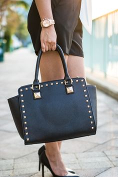 Black Studded Satchel | Love Shopping Miami #studdedsatchel #satchel  #blacksatchel #black