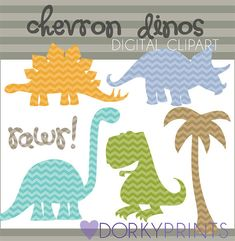 Chevron Dinosaur Digital Clip Art Set  -Personal and Commercial Use- Dino Clipart - Instant Download
