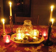 Candlelight Christmas dinner can you tell I like mason jars
