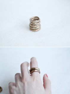 DIY Faux Hammered Gold Rings   Fall For DIY