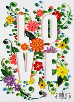 A quick project: LOVE typography done with paper quilling. Published: - by: Giftable Arts - VT Arte Quilling, Quilling Letters, Paper Quilling Flowers, Paper Quilling Patterns, Quilling Paper Craft, Paper Crafts, Quilling Ideas, Quilled Roses, Quilling Work