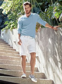 Father's Day with Justice Joslin | Le 31 Globe-Trotter Sweater, Long Linen Bermudas &  Comino slip-Ons | La Maison Simons