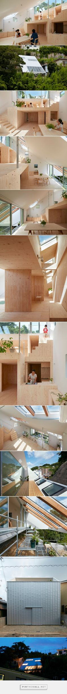 tomohiro hata's hillside house interior integrates terraced platforms - created via https://pinthemall.net