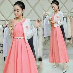 Setelan Baju Maxi Long Dress Peach