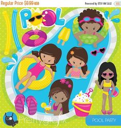 80% OFF Venta piscina party clipart uso por Prettygrafikdesign