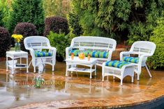Havenside Home Lincolnville Outdoor Seating Set with Coastal White Wicker (Blue/Multicolor), Patio Furniture (Steel) Outdoor Dining Set, Outdoor Seating, Outdoor Decor, Outdoor Fabric, Patio Dining, Dining Sets, Dining Chairs, Garden Seating, Outdoor Ideas