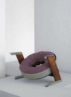 Max Gottschalk; Wood, Steel, Aluminum and Upholstered Inner Tube Prototype Chair, c1955.