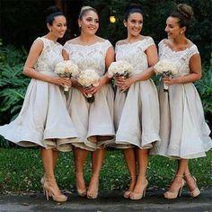 Morden Cap Sleeve Lace Organza Knee-Length On Sale Short Affordable Br – AlineBridal