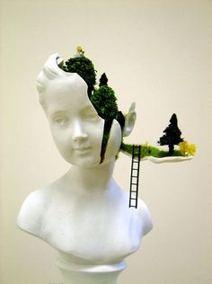 Surreal Secret Garden Hidden Inside a Sculpture by Mixed media artist Gregory Grozos
