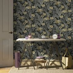 Graham & Brown Wallpaper   Sandrine Tropics Grey   106740