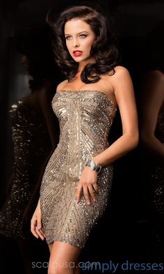 Shop Simply Dresses for short strapless sequin dresses by Scala. Fabulous short prom or homecoming dresses with unique patterned gold sequins.