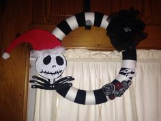 Jack skellington wreath. Made the hat detachable for year round use