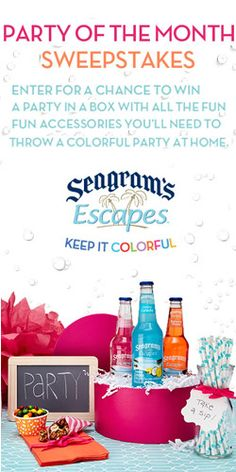 Enter To Win Seagram's Escapes Party of the Month! TERRIFIC GIVEAWAY!! Enter here  http://womanfreebies.com/sweepstakes/seagrams-escapes-party For Your chance To Win! You Know That I Definitely Entered!! I LOVE THIS GIVEAWAY & I WANT TO WIN SO VERY, VERY, VERY BAD!! Thanks, Michele