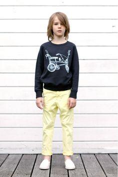 Finger in the Nose SS 14 Hank Black Shadow Bike - Raglan Sleeves Sweatshirt Scotty Yellow Hay - Chino Pants
