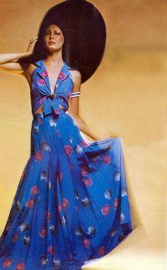 70s blue print gown halter tie front pleats designer couture long boho dress summer evening wear Debora Bertin wearing Chloe. Photo by Barry Lategan Vogue UK 1973