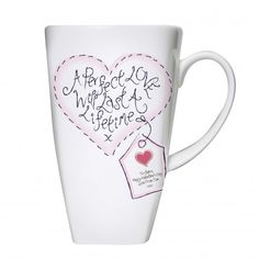 Personalised Stitch Heart Perfect Love Tall Latte Mug  Valentines Day Gift for your girlfriend or wife