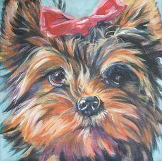 Yorkshire Terrier yorkie art toile imprimer de Shepard LA peinture portrait de chien de 8 x 8