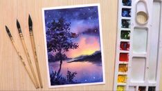 painting watercolor paintings sky night beginners landscape tutorial watercolour easy simple drawing