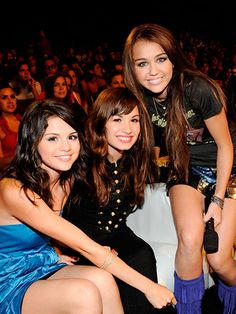 Demi Lovato - With Selena Gomez and Miley Cyrus at the Teen Choice Awards, 2008   allure.com