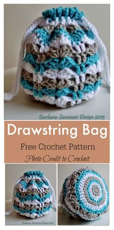 Crochet Flowers Pattern Drawstring Bag Free Crochet Pattern - This crochet pouch is super mini, cute and useful. It has an unlimited number of uses. You can easily use the Little Pouch Free Crochet Pattern to make a few. Crochet Purse Patterns, Crochet Motifs, Crochet Stitches, Bag Patterns, Sewing Patterns, Crochet Drawstring Bag, Drawstring Bag Pattern, Drawstring Bags, Crochet Handbags