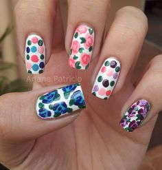 """Retro Floral Nails... I like her """"fuck you"""" finger :)"""