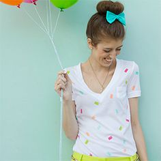Make this fun and summery confetti t-shirt with potato stamps!