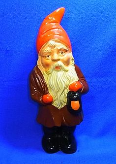 Vintage German Art Pottery Yard Santa Gnome with Lantern #F1