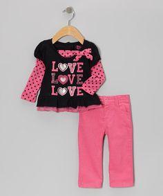 Look at this #zulilyfind! Pink 'Love' Layered Top & Pants - Girls #zulilyfinds