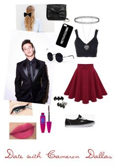 """""""Date with Cameron Dallas"""" by alexiacastillo ❤ liked on Polyvore featuring Topshop, Vans, Sam & Libby, PINK BOW, Accessorize, Maybelline and Una-Home"""