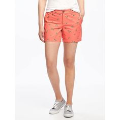 """Old Navy Womens Mid Rise Printed Everyday Khaki Shorts  5"""" ($18) ❤ liked on Polyvore featuring shorts, red, relaxed shorts, khaki shorts, old navy shorts, red shorts and mid thigh length shorts"""